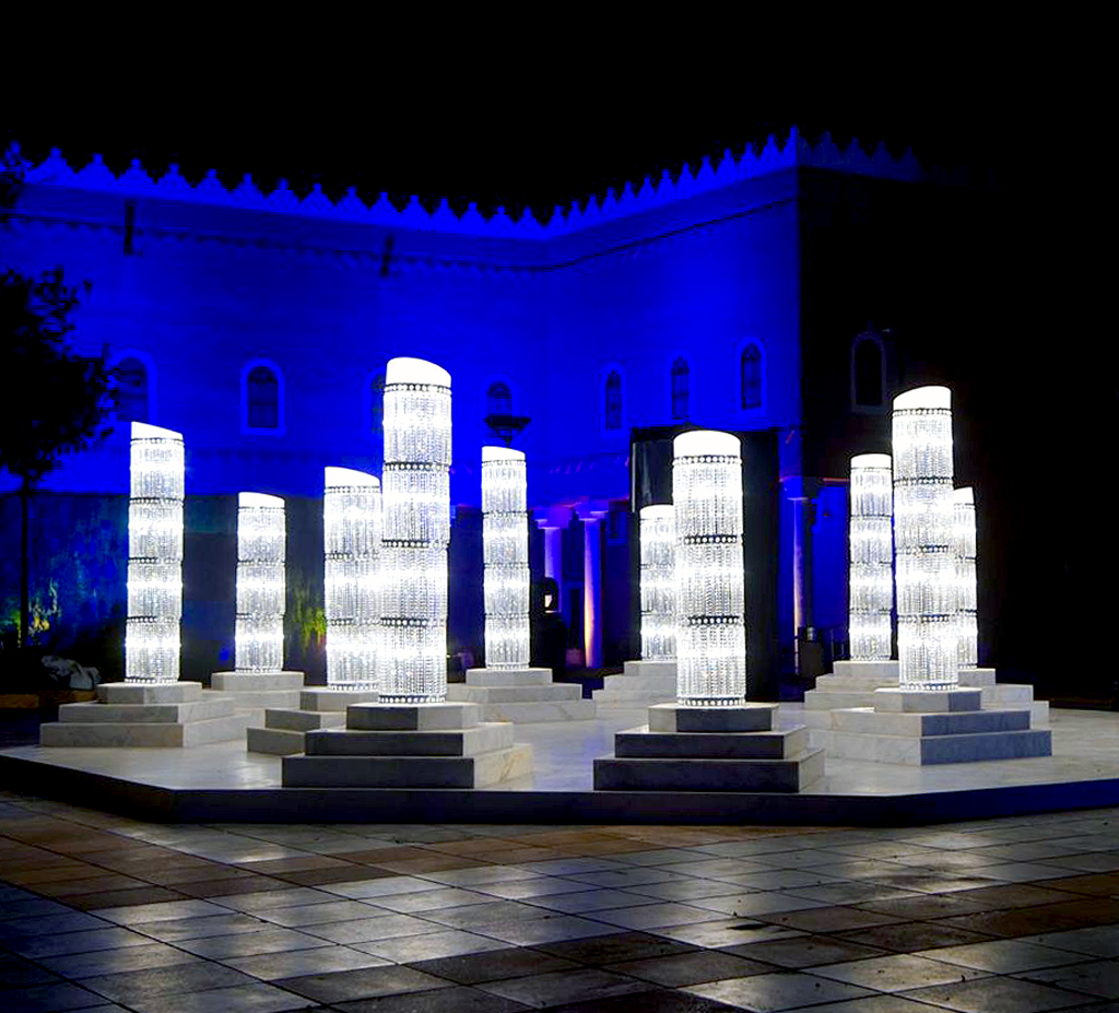 crystal light pillar art installation luxury concierge services provided by alfaone concierge